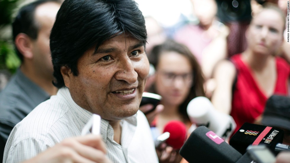 "Bolivian President Evo Morales holds a news conference at the Vienna International Airport on July 3. He angrily denied any wrongdoing after his plane was diverted to Vienna and said that Bolivia is willing to give <a href=""http://www.cnn.com/2013/07/06/world/snowden-asylum-options/index.html"">asylum to Snowden</a>, as ""fair protest"" after four European countries restricted his plane from flying back from Moscow to La Paz."