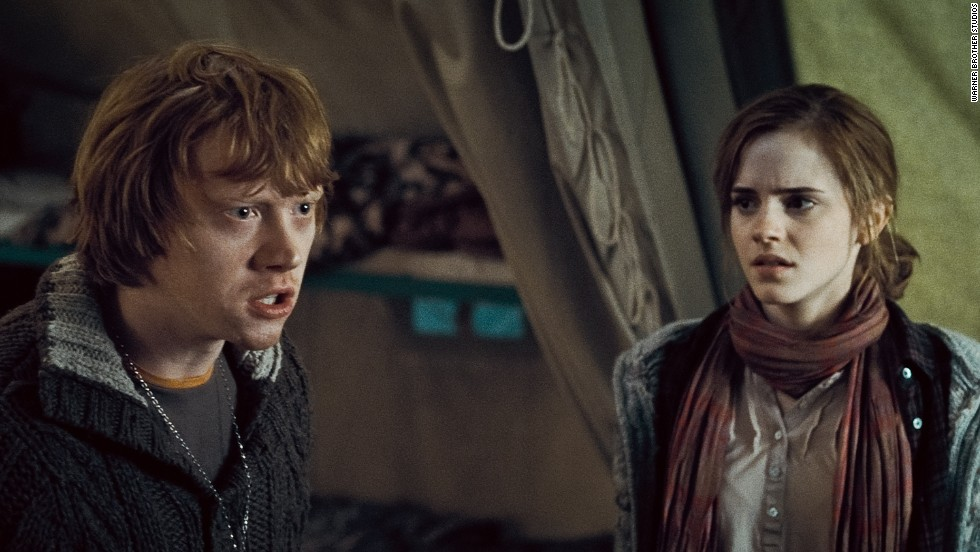 Ron Weasley and Hermione Granger of the Harry Potter series -- played by Rupert Grint and Emma Watson in the films based on the books -- couldn't resist each other's charms, and the two eventually marry.
