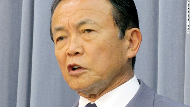 Japanese Deputy Prime Minister and Finance Minister Taro Aso at a cabinet meeting at Aso's office in Tokyo on August 2, 2013.