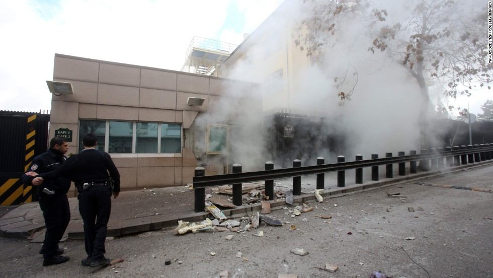 "A suicide bomb goes off at the <a href=""http://www.cnn.com/2013/02/01/world/europe/turkey-embassy-explosion/index.html"">U.S. Embassy in Ankara, Turkey,</a> on February 1. A security guard was killed and a journalist was wounded in the attack. The Revolutionary People's Liberation Party-Front, or DHKP-C, took responsibility for the bombing."