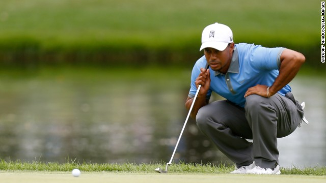 Tiger Woods lined up his shots with aplomb at the Bridgestone Invitational on Friday, shooting a sizzling 61.