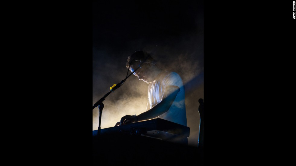 Ben Lovett, keyboardist for Mumford & Sons, performs on August 3.