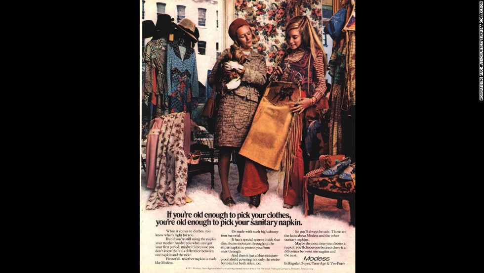 This vintage 1970s-era Modess magazine advertisement encourages the reader to switch from her mother's brand sanitary napkin to Johnson and Johnson's Modess brand. Modess ads ran for decades and through the 1970s.