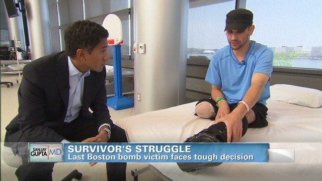 Boston bombing survivor's struggle