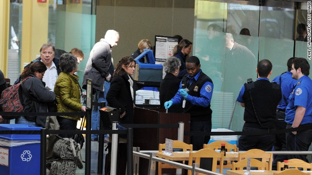 transportation security administration officers work at the ronald reagan national airport in washington dc