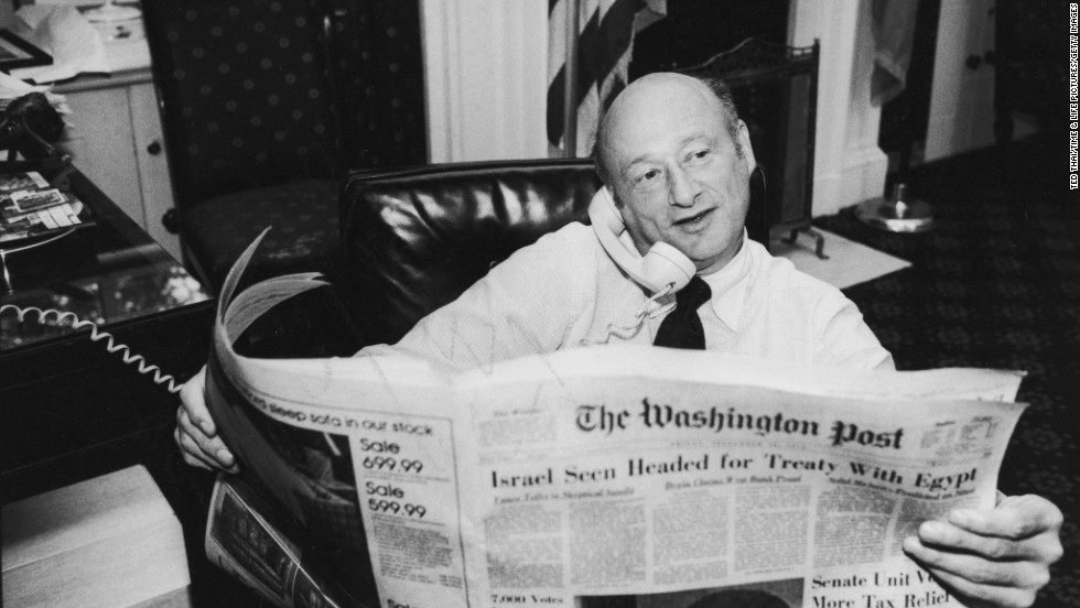 New York Mayor Ed Koch reads the Washington Post in his office during the New York City newspaper strike in 1978.