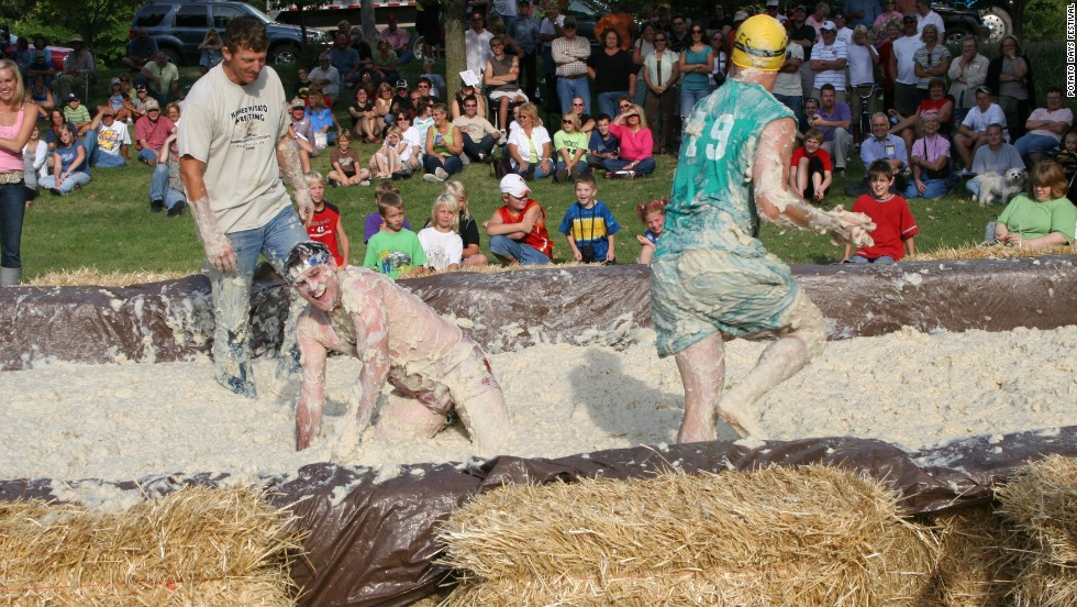 Mashed Potato wrestling is one of the most popular activities at Potato Days, a two-day celebration of the humble spud that takes place in Barnesville, Minnesota.