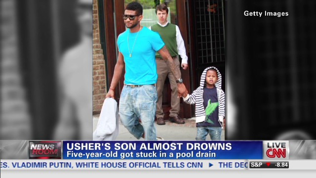 Usher's son almost drowns