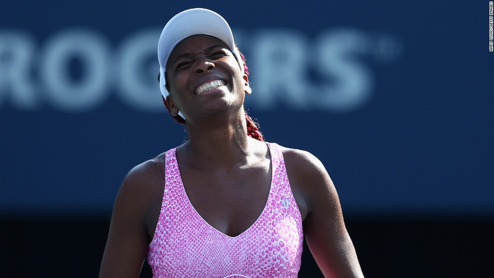 Venus Williams lost to Kirsten Flipkens at the women's Rogers Cup in Toronto. Williams skipped Wimbledon with a back injury and her last win on the WTA tour came in early April.