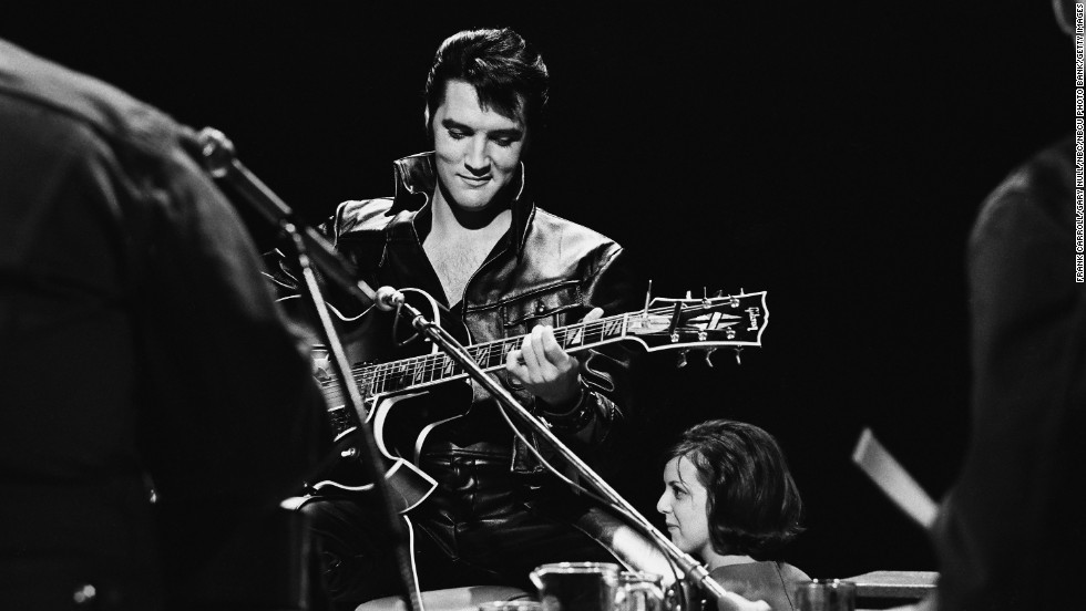 Elvis performs during his 1968 comeback special on NBC.