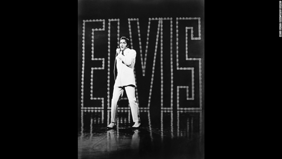 Elvis performs in Burbank, California, as part of his 1968 comeback special.