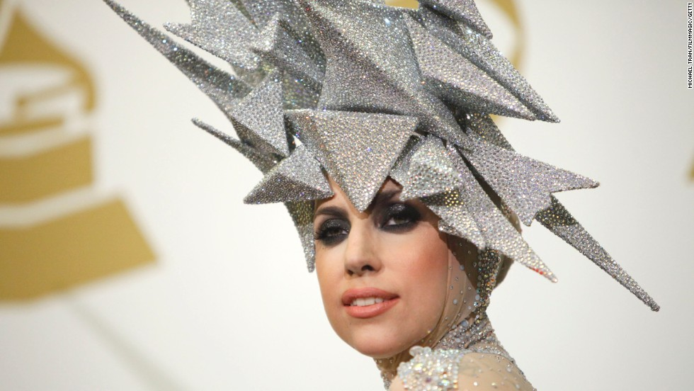 Lady Gaga poses in the press room at the 52nd Annual Grammy Awards in 2010.