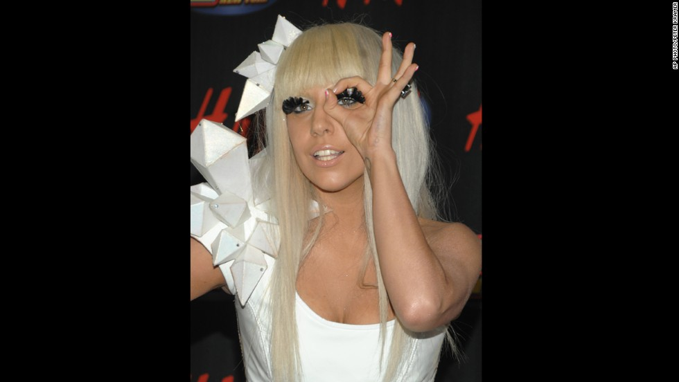 Lady Gaga poses in the press room at the Z100 Jingle Ball concert at Madison Square Garden in New York in 2008.