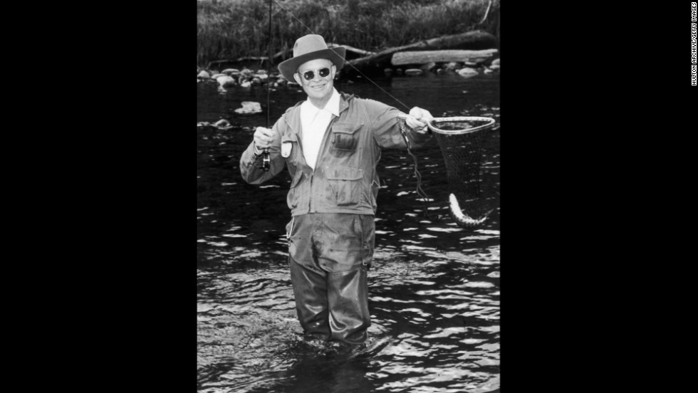 In 1953, President Dwight D. Eisenhower fishes the North Platte River at the Swan Hereford Ranch in Colorado. Eisenhower also enjoyed golf trips to Augusta, Georgia.