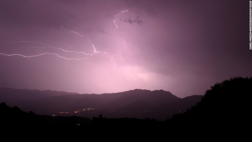Lightning strikes over San Pietro mountain in the French Mediterranean Island of Corsica on Friday, August 9.