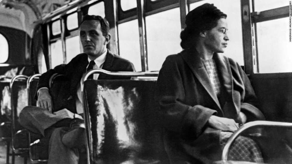 Rosa Parks became an inspiration for the modern civil rights movement when she was arrested in Montgomery, Alabama, on December 1, 1955, after refusing to give up her seat to a white passenger on a city bus. For 381 days, African-Americans boycotted public transportation to protest Parks' arrest and, in turn, segregation laws. The boycott led to a 1956 Supreme Court ruling desegregating public transportation in Montgomery. Soon after, Parks was photographed near the front of a bus in what became an enduring image of the civil rights movement.