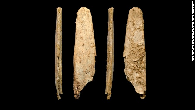 These are four views of the most complete lissoir bone tool found during excavations at the Neanderthal site of Abri Peyrony, France.