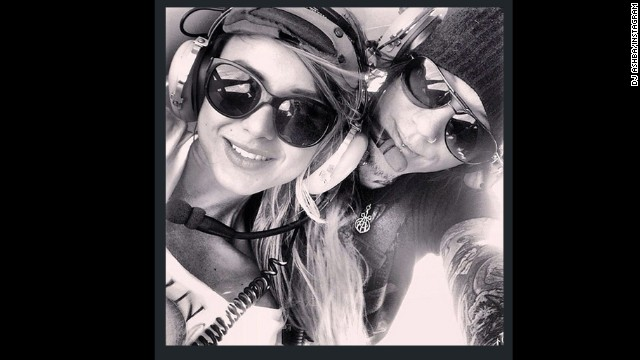 "The Instagram photo Daren Jay ""DJ"" Ashba posted showing him and his now-fiancée in a police helicopter."