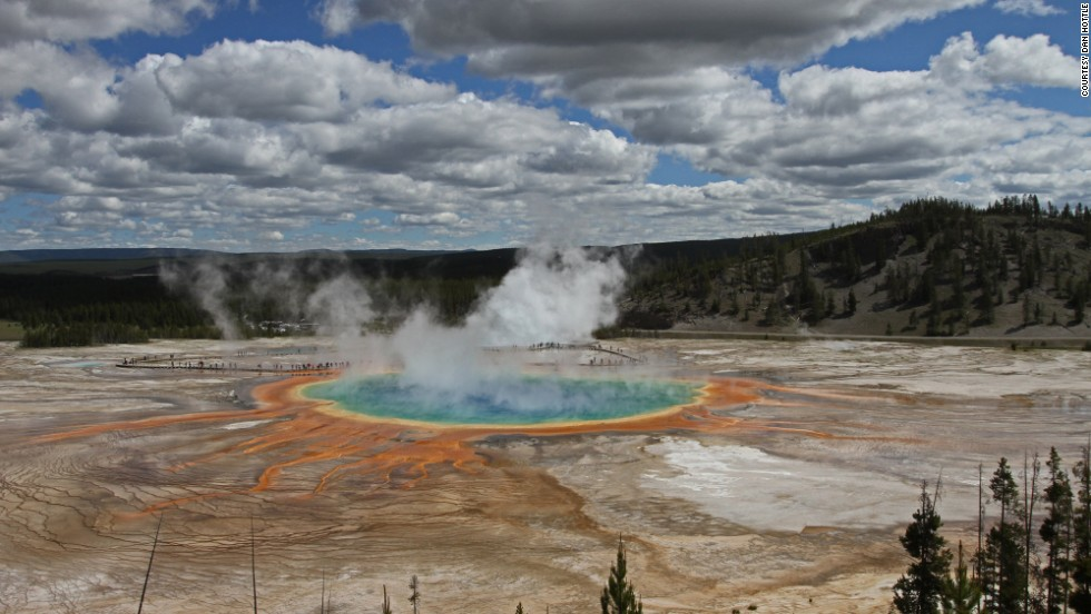Grand Prismatic Spring is Hottle's favorite spring in the park, and it's in Midway Geyser Basin about five miles from Old Faithful. When the light is right, hike up one of the mountains surrounding the spring and you'll see the steam change colors because of the spring's bacteria.