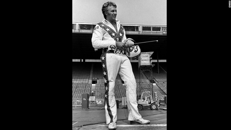 Motorcycle daredevil Evel Knievel, here in an undated photo, jumped 13 cars two nights in a row at the Astrodome in January 1971.