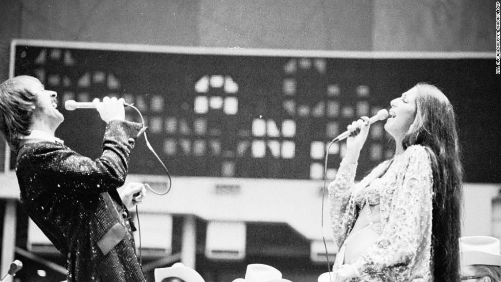 Sonny and Cher perform at the Houston Livestock Show and Rodeo at the Astrodome in February 1974.