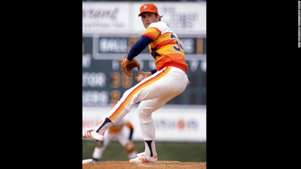 Nolan Ryan of the Houston Astros pitches during a game in 1980. Baseball's all-time strikeout leader, Ryan went on to become the principal owner and CEO of the Texas Rangers.