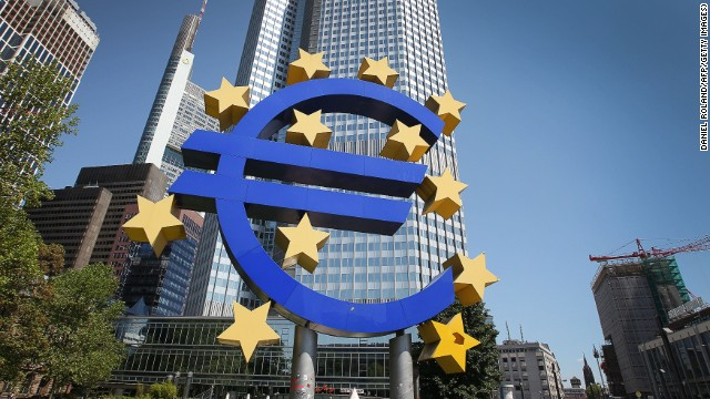 A logo of the European currency Euro stands in front of the headquarters of the European Central Bank (ECB) in Frankfurt am Main on June 6, 2013, 2013.