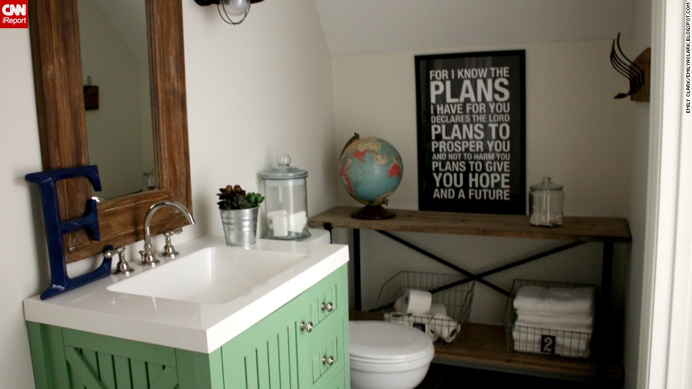 "<a href=""http://ireport.cnn.com/docs/DOC-1017242"">Emily Clark's</a> toy <a href=""http://emilyaclark.blogspot.com/2013/06/our-new-bathroom-details-sources.html"" target=""_blank"">closet turned boy's bathroom.</a>"