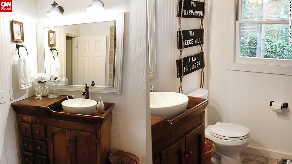 "<a href=""http://ireport.cnn.com/docs/DOC-1019855"">Lindsey Jackman's <a href=""http://lifeofsplendor.com/"" target=""_blank""></a>country rustic</a> bathroom."