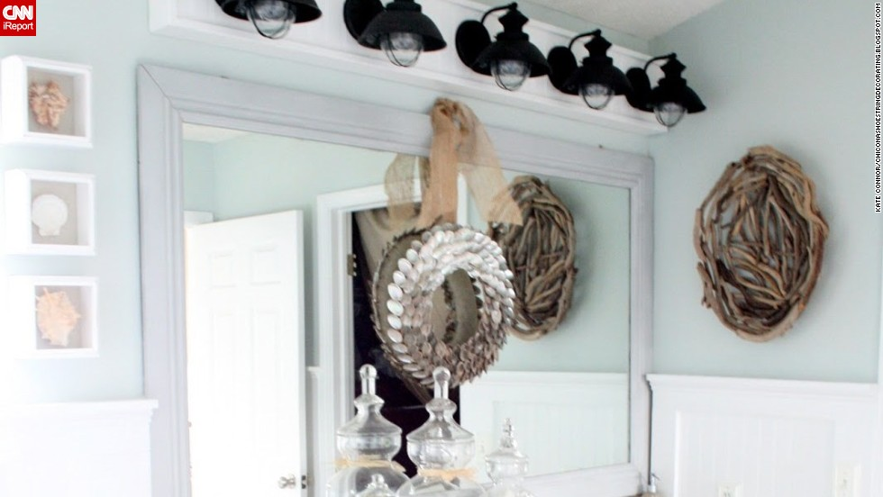 "<a href=""http://ireport.cnn.com/docs/DOC-1016103"">Kate Connor's</a> beachy <a href=""http://chiconashoestringdecorating.blogspot.com/2013/01/beachy-bathroom-reveal.html"" target=""_blank"">bathroom makeover</a>."