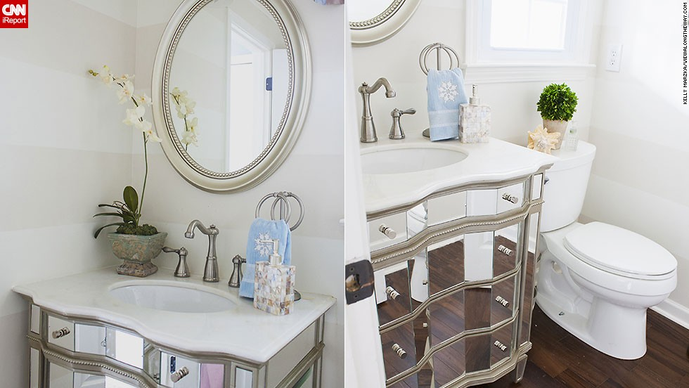 "<a href=""http://ireport.cnn.com/docs/DOC-1019637"">Kelly Marzka's</a> bright, <a href=""http://www.viewalongtheway.com"" target=""_blank"">on-a-budget</a> powder room."
