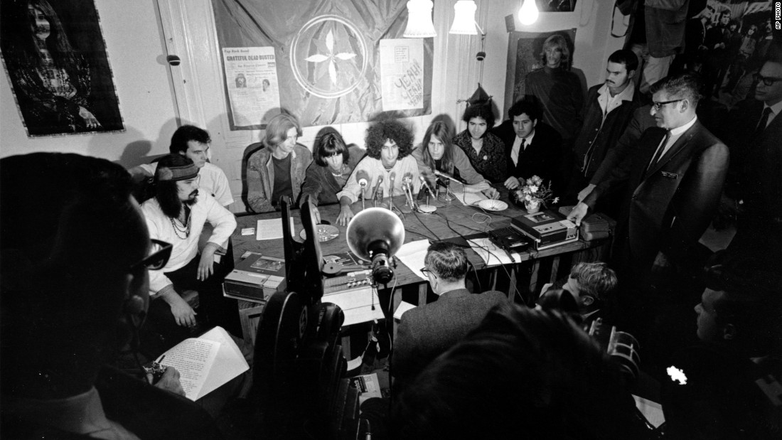 Members of the Grateful Dead talk with reporters from their home in San Francisco on October 5, 1967. The band was protesting being arrested for marijuana possession.