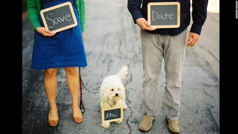 Pets can be a part of wedding invitations, even engagement photos.