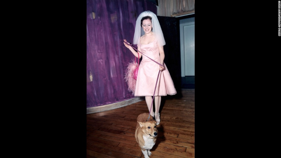 This bride poses in a pink wedding dress holding on to her pet corgi.