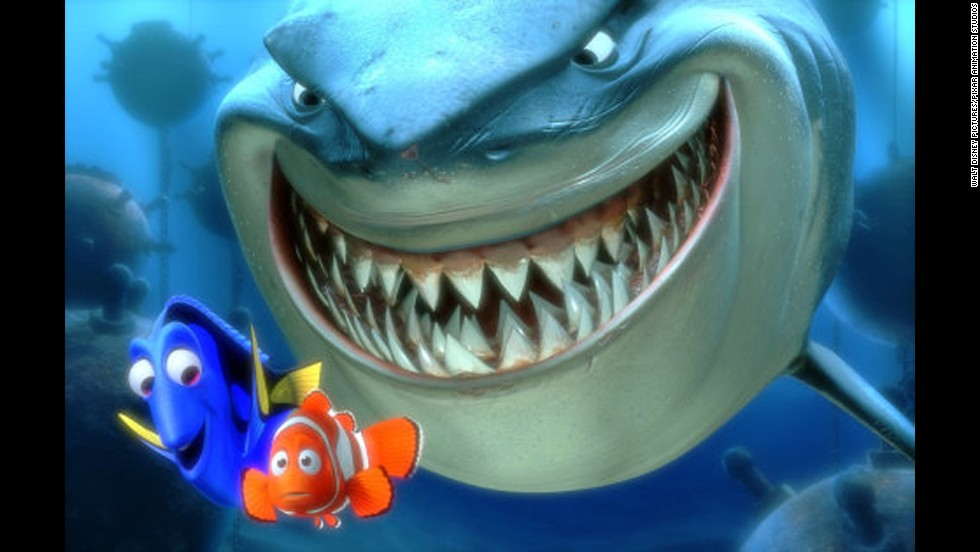 "Disney/Pixar brought Steven Spielberg's Bruce to life again in 2003's ""Finding Nemo."" This Bruce was just as terrifying -- especially to a clownfish dad hunting for his son -- but at least he tried to live by the rule that ""fish are friends, not food."""