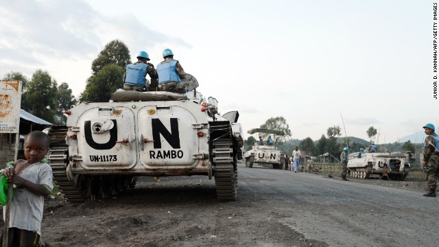 Indian soldiers of the U.N. mission in the Democratic Republic of Congo are pictured near Goma in June  2013.