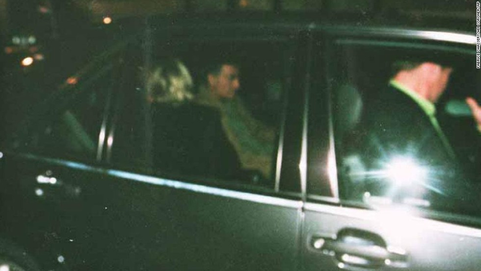 Princess Diana and Dodi al-Fayed can be seen in the back of their car after leaving the Ritz. The photo was made available in 2007 from evidence presented at an inquest into the cause of crash.