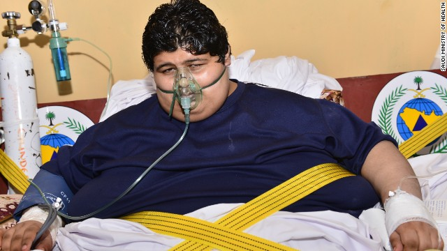Khalid bin Mohsen Shaari weighs 1,345 pounds (610kg) and is unable to move by himself.