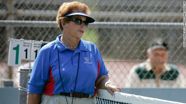 In this photo taken in 2008, tennis referee Lois Goodman is shown while officiating a CIF tennis tournament.