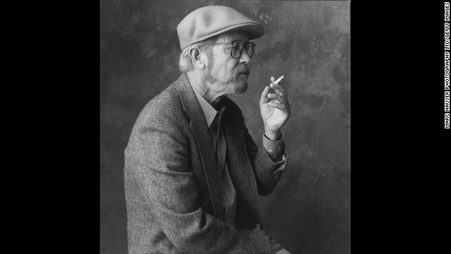 UNITED STATES - CIRCA 1990:  A seated and in profile portrait of American novelist Elmore Leonard (b,1925) holding a cigarette and wearing a hat (Photo by Marc Hauser Photography Ltd/Getty Images)
