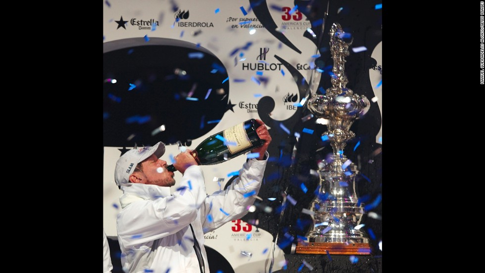 Larry Ellison, CEO of Oracle Corporation, partakes in a bit of fanfare after his team won the second race of the 33rd America's Cup off Valencia's coast on February 14, 2010, in Valencia, Spain.