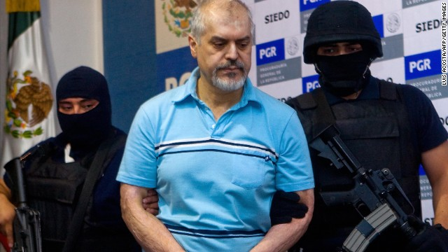 (File) Eduardo Arellano Felix, aka 'the Doctor' is presented during a press conference In Mexico City, on October 27, 2008.