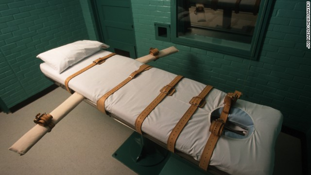 The Texas death chamber in Huntsville, Texas, seen in June, 2000, is where death row inmates are executed by lethal injection.