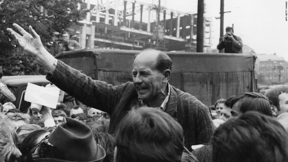 Perhaps the most successful Czech athlete, Emil Zatopek, was involved in the protests against the invasion. Here he is pictured addressing crowds in Prague.