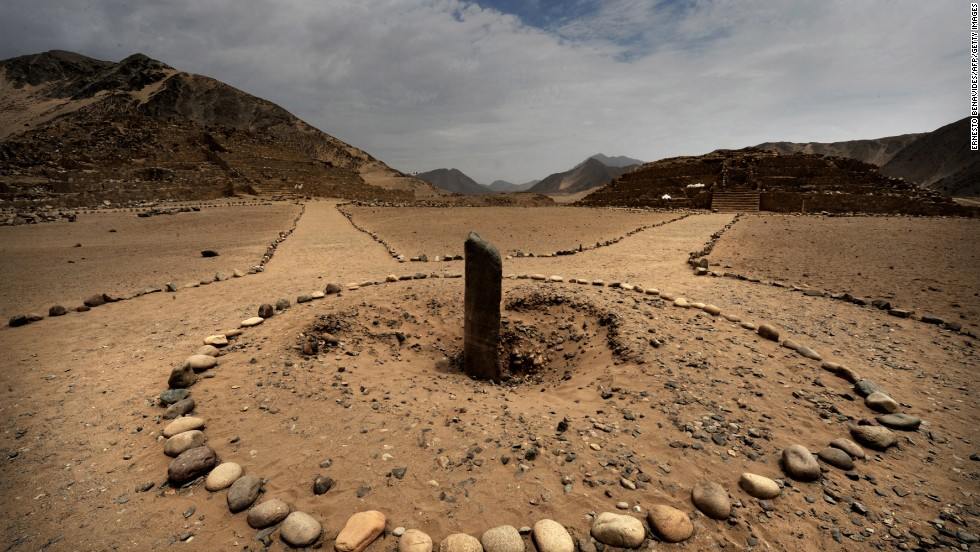 Caral, the oldest ancient city of South America, located in Peru, includes this sundial. The city is thought to be nearly 5,000 years old.