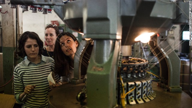 Maxine Bédat and Soraya Darabi tour Mohnton Knitting Mills.