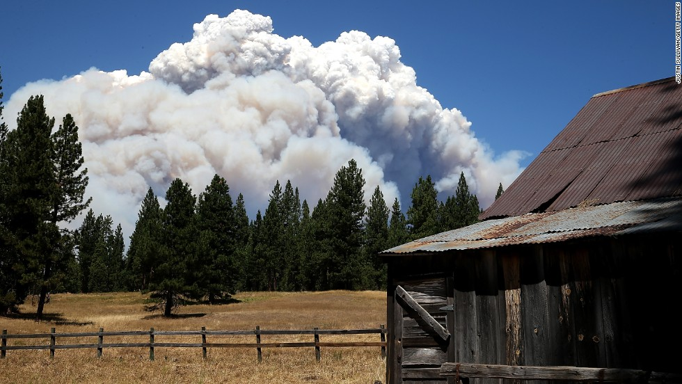 Smoke from the Rim Fire is visible near the Hetch Hetchy Reservoir on August 22, in Yosemite National Park, California. The Rim Fire continues to burn out of control and entered Yosemite National Park on Friday.