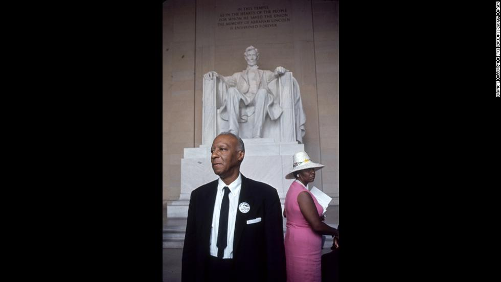 A. Philip Randolph, who helped organize the rally, stands in front of the Lincoln Memorial.