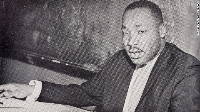 A photo from the Morehouse yearbook shows King in a classroom. Students say the class sometimes moved outdoors.
