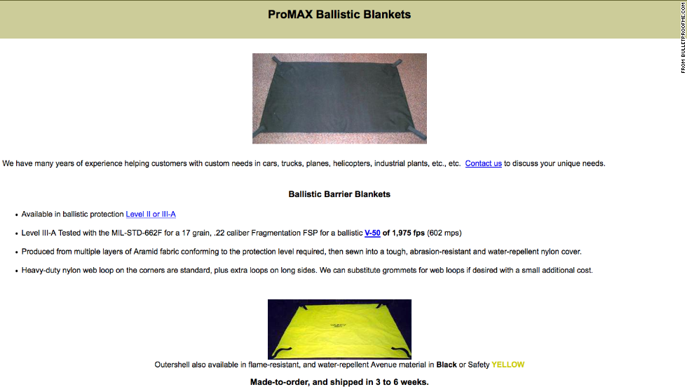 This ballistic barrier blanket promises to protect from most bullets. Nick Paylor of bulletproofME.com said immediately after the Sandy Hook shooting the company saw a surge in sales of all sorts of products, but it has since died down.